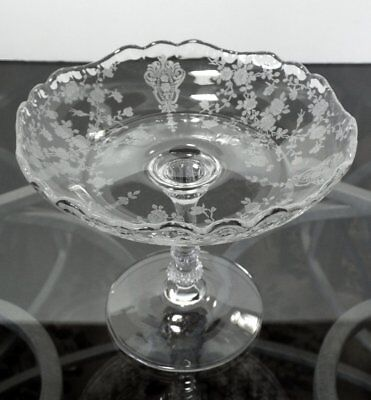 "Cambridge Rose Point Clear 5"" Round Pedestal Compote Etched 3500/148"