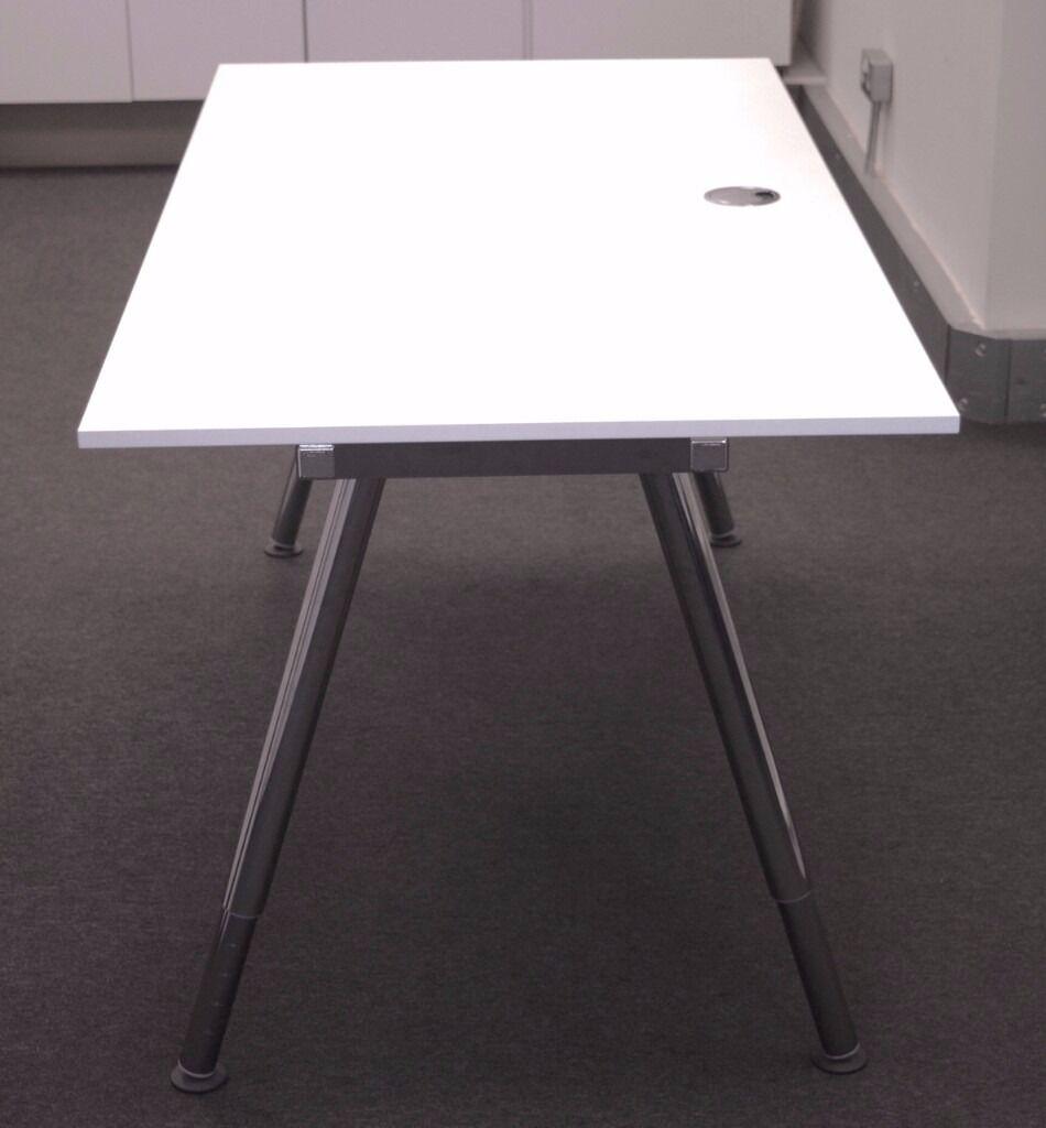 chrome office desk. White IKEA Galant Office Desk (160 X 80 Cm) With Chrome Legs
