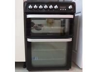 Hotpoint HUD61K S Black 60cm Dual Fuel Double Oven Cooker