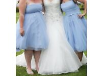 Sky Blue Mid length brides maid dresses
