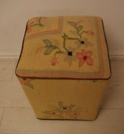 Beautiful antique vintage fabric low stool