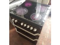 Indesit ID60C2KS Electric Double Oven Cooker - 60cm width with ceramic top and black colour