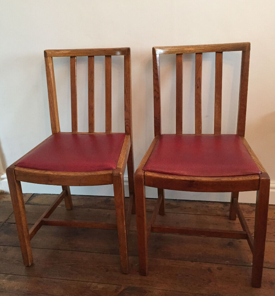 2 X 1940s Oak Dining Chairs Mid Century Vintage Utility