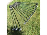 Full Set of MacGregor Irons and Woods, with Bag, Trolley and Travel Cover
