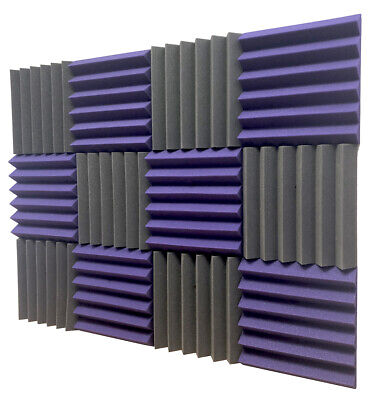 2x12x12 (12 Pack) Purple and Black Acoustic Wedge Studio Foam Tiles