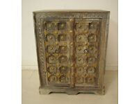 Beautiful solid wood and hand carved tapped brass bedside table unit