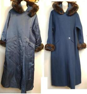 Classic Mint Vtg LINDA LUNDSTROM La Parka 10 12 14 M L Oversized Blue Faux Fur Womens Tall Winter Coat Raincoat 2 piece