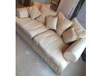 3 & 2 seater cream fabric sofa washable covers