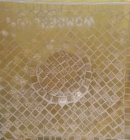 NEW GOLD YELLOW MOSAIC GLASS TILE CANDLE PLATE Glassware Decoration Ornament Bathroom Dining Kitchen