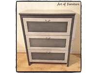 Chest of 3 Drawers Hand Painted in ANNIE SLOAN Paris Grey & Old White Chalk Paint.