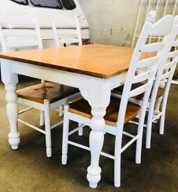 Beautiful Farmhouse Table and Four Chairs