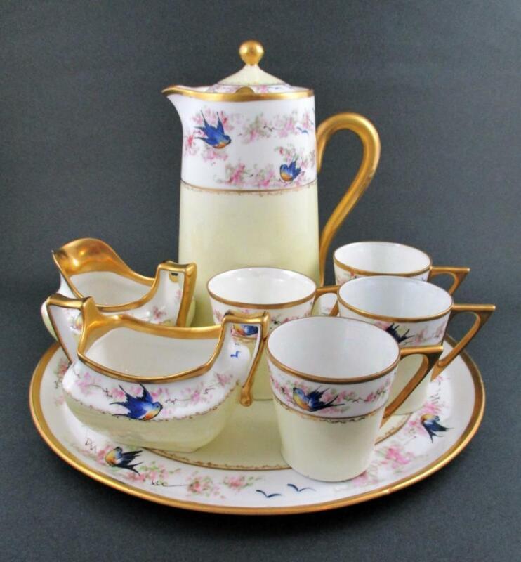 BLUEBIRDs - Antique Tea, COCOA, Coffee SET HandPainted Porcelain - Signed LUKEN
