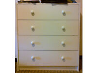 Beige Pinewood Dresser with 4 drawers