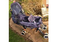 Double fold down pushchair
