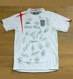 Team signed England shirt with Coa