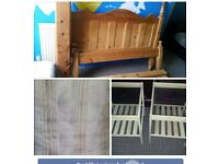 4 ITEMS. WOOD PINE BED MATTRESS. 2 BEDSIDE TABLES