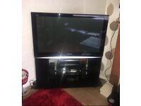 "46"" Viera Panasonic TV with DVD player and speakers"