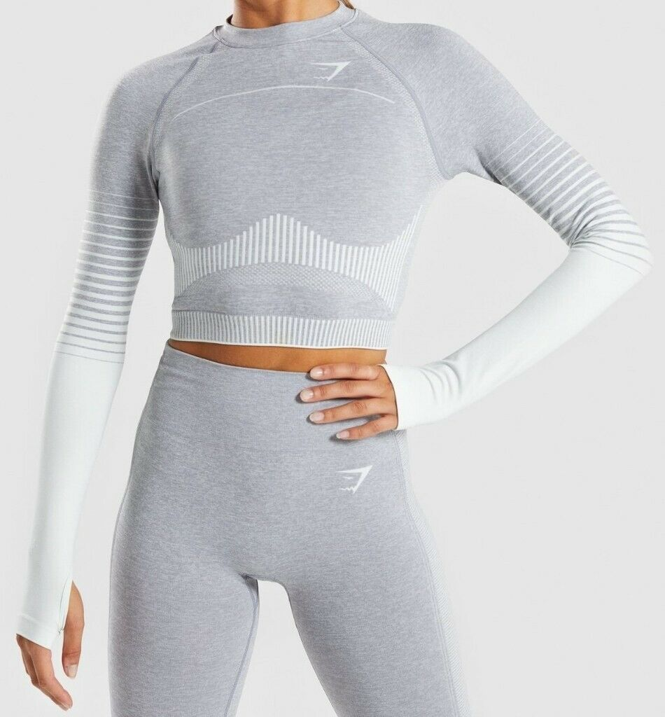 804ce718ee5cca Gymshark Amplify Seamless Long Sleeve Crop Top - Light Grey Marl/Sea Green  - Medium - Unused - Tags