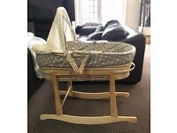 Used once moses basket and stand