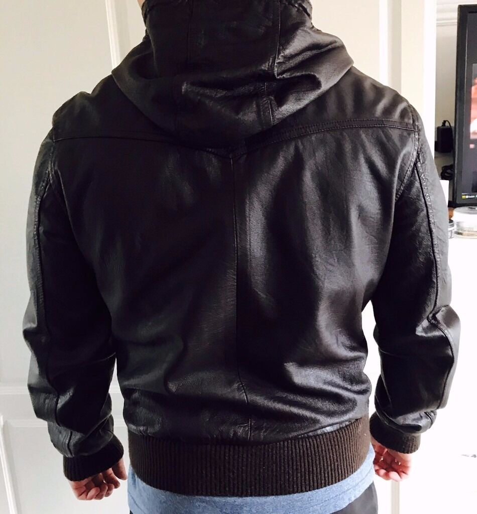 Mens jacket gumtree - Mens Leather Jacket River Island For Sale Good Condition