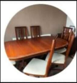 Table extending and six chairs