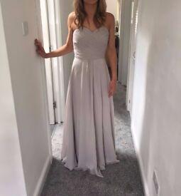 Long Light Grey Chiffon Prom Evening Bridesmaid Dress