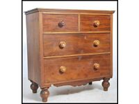 Antique pine and mahogany chest of drawers
