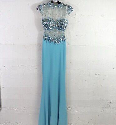 Clarisse Light Blue Beaded Mesh Top Jersey Skirt Maxi Prom Pageant Dress Size: 0 Beaded Jersey Skirt