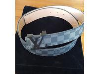 """Mens Louis Vuitton Damier Print Belt with Black Buckle - 31-34"""""""