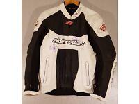 Postage Available *Alpinestars GP Plus *Leather Motorcycle Jacket *Race Track *White *EU 56 UK 46