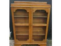 Vintage tesk glass front bookcase