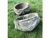 Two concrete shallow pots - Garden features