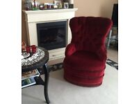 vintage victorian style button back nursery chair armchair red velvet rolling