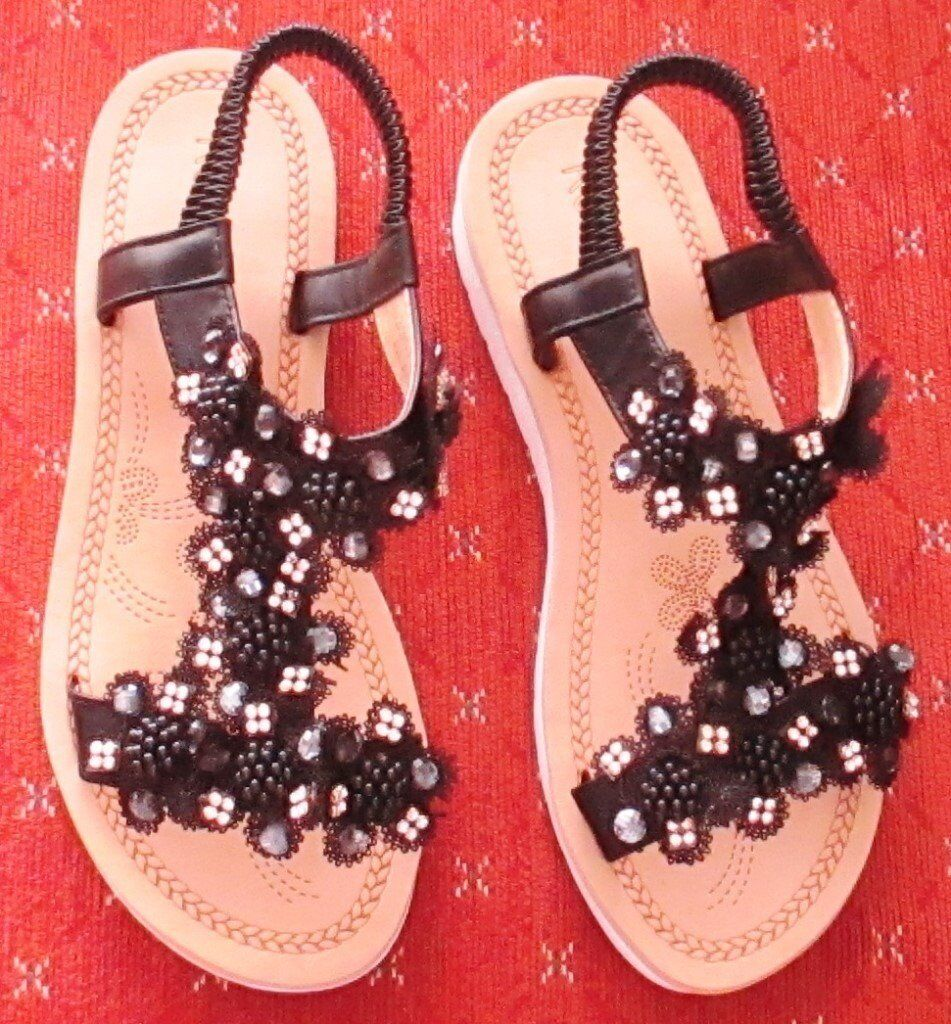 d94aefd48 SALE 48 HRS ONLY! NEW PAIR OF BLACK JEWELLED SANDALS ...