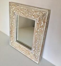 Detailed Small Wooden Mirror 39.5cm x 34cm