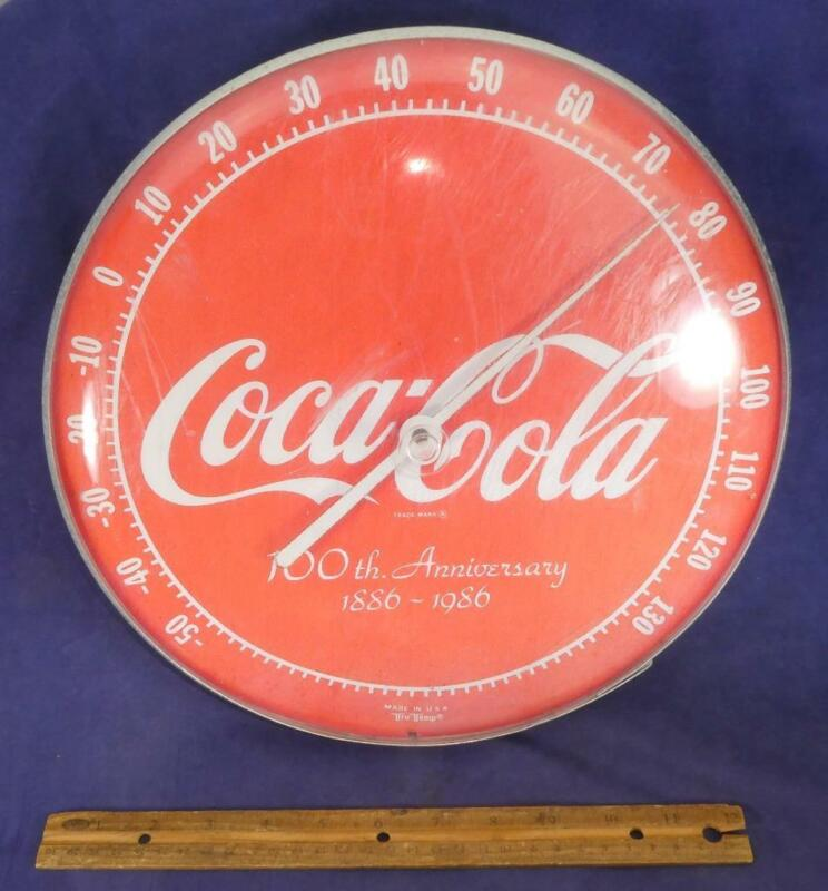 1986 Coca Cola Advertising Wall Thermometer 100th Anniversary Tru Temp Works !