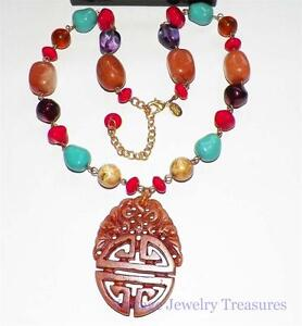 Joan Rivers Asian Design Carved Pendant Multi Color Gemstone Necklace New in Box