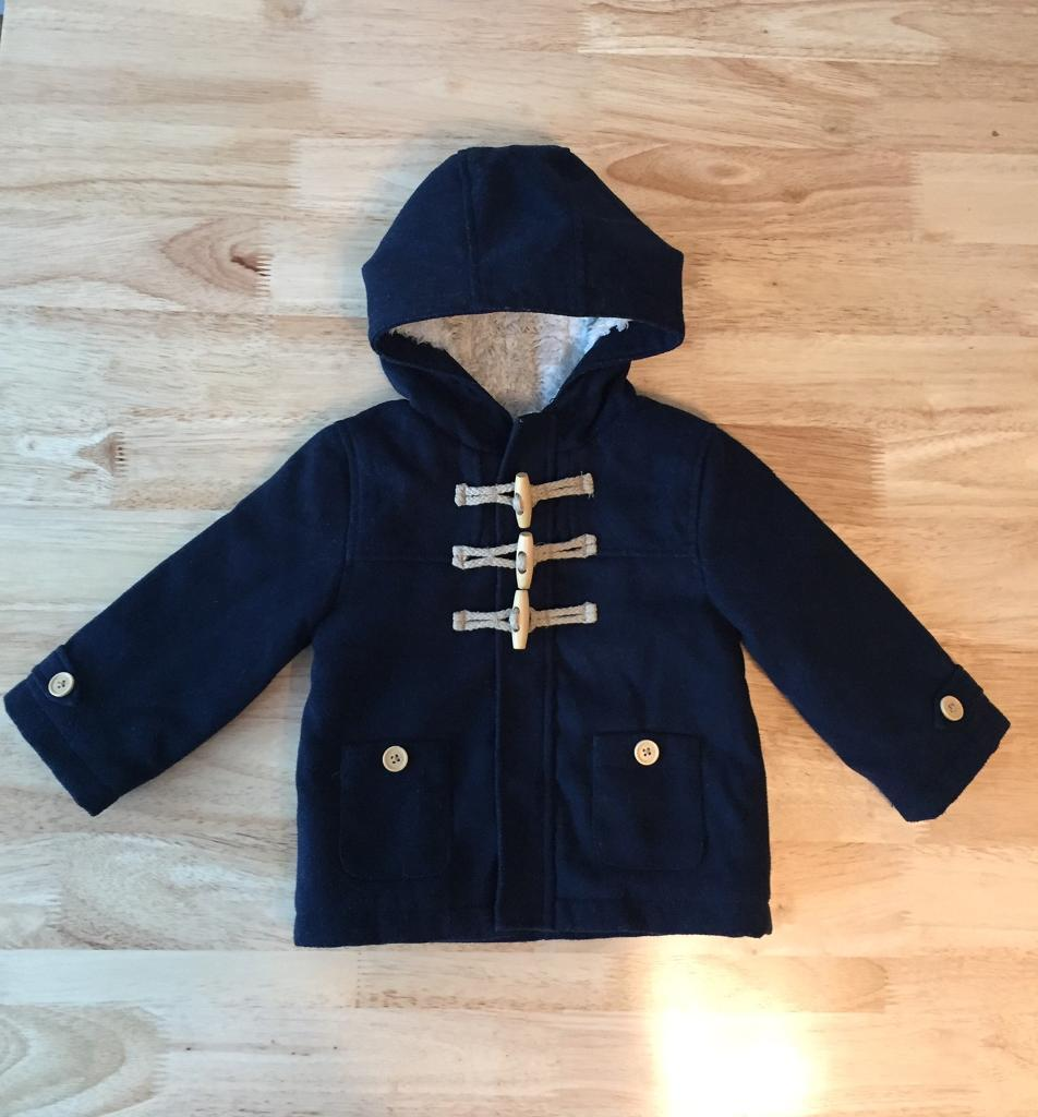 687acd360f9d Faux Fur Lined Navy Blue Baby Boys hooded Duffle coat 9-12 months ...