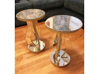 2 NEXT MIRRORED OCCASIONAL/BEDSIDE TABLES