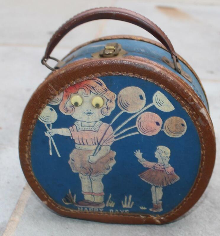 Vintage Round Doll Case Happy Days Doll Case Googly Eyed Doll Carnival Balloons