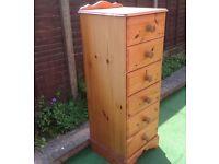 A pine tallboy 6 drawer chest,
