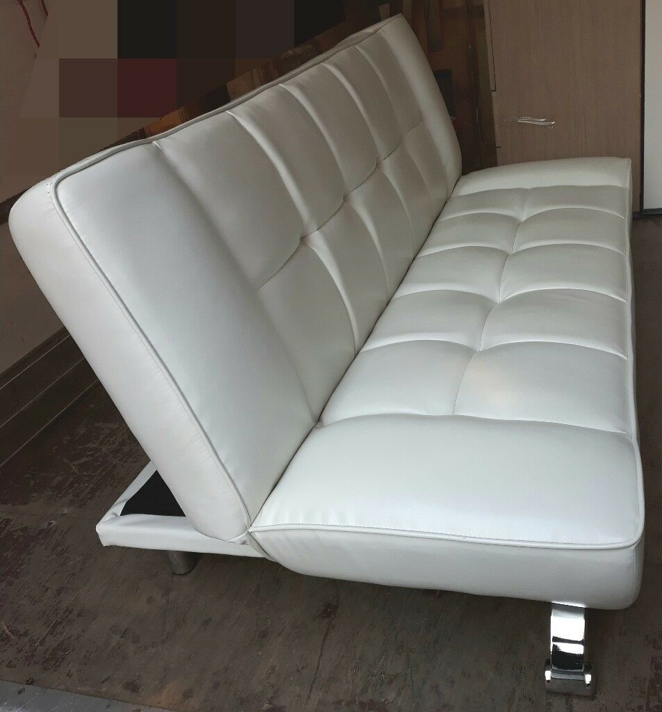 Genoa Faux Leather Sofa Bed White In Loughborough
