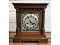 SUPERB -BADISCHE UHRENFABRIK- GERMAN OAK CASED STRIKING MANTEL CLOCK 12250 like W&H