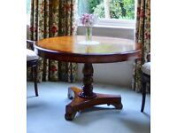 Round Wood Dining / Occasional Table Antique Style Theodore Alexander