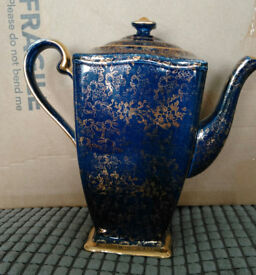 Royal Winton Grimwades Ascot style Tea/Coffee Pot Blue with Gold pattern