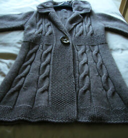 PER UNA M&S Knitted COAT LARGE Taupe HARDLY Worn COST £60 Only £15! WOOL Alpaca SHIRLEY