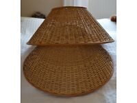 Pair Large Lampshades - Wicker / Rattan - Ceiling