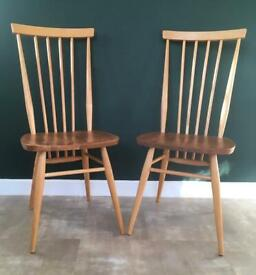 Pair Of Refurbished Vintage Ercol 608 Tall High Back Dining Kitchen Chairs Mid Century