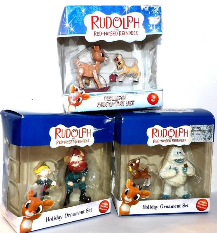 Rudolph Red Nose Reindeer HOLIDAY ORNAMENTS  3 sets