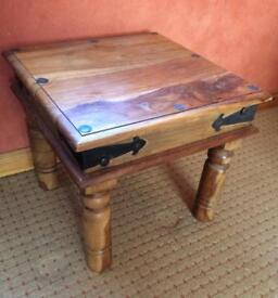 Solid Heavy Wooden Side Table w/Ironwork